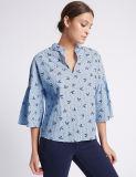 Le coton pur de qualité a barré 3/4 chemisier de chemise