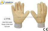 Перчатка работы запястья руки Knit латекса вкладыша Джерси польностью покрынная (L1715)