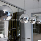 Moderno Chrome Globe Suspension Mirror Metal Ball Ceiling Pendant Lamp para Escritório Made in China