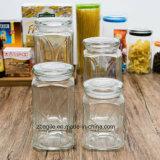 Fábrica Atacado Alimentos Madeira tampa de armazenamento garrafa de vidro (100025)