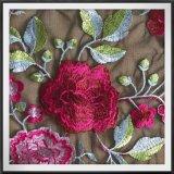 Lacet floral de broderie de lacet de broderie de maille de lacet brodé par fleur de pivoine