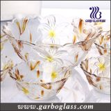 7PCS Colores Grabado Flores bol de vidrio Set / Juego de vidrios