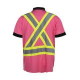 Vêtement 100% élevé r3fléchissant de circulation de sûreté de polyester de visibilité de chemise de polo