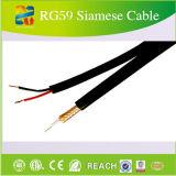 Câble siamois Rg59 de système de caméra de sécurité de bloc d'alimentation de télévision en circuit fermé