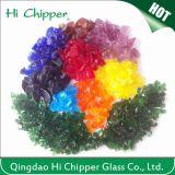 Die Landschaftsgestaltung des Glases bricht hellbernsteinfarbige Kürbis-Glasspiegel-Schrotte ab