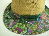 Toyo imprimió el sombrero de paja del sombrero de ala de la tela