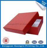 Boîte-cadeau rigide gravée en relief de carton de papier de couleur rouge de configuration