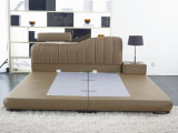 Обитая кожаный кровать с самомоднейшей конструкцией (9309)