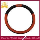 Il nero con il coperchio materiale arancione del volante dell'automobile del PVC