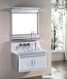 Cabina de cerámica de la vanidad del cuarto de baño del acero inoxidable del lavabo del modelo de madera del grano