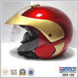 Casco aperto di colore Mixed rosso del motociclo del fronte e dell'oro (OP205)