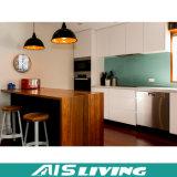Gabinetes de cozinha modernos de madeira brancos do projeto profissional barato do preço (AIS-K124)