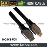 El cable plateado oro de alta velocidad de HDMI con 3D y 4k utilizó