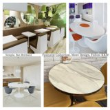 بيضاء رخاميّة أكريليكيّ صلبة سطحيّة مطعم طاولة وكرسي تثبيت