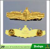 Coutume nous insigne d'insignes plaqué par or en métal de dirigeant de gouvernement