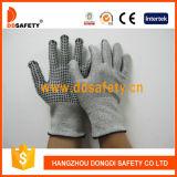 Ddsafety 2017 gants de fibres de verre de 13G Hppe avec les points mélangés en nylon de PVC de noir de Spandex