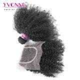 Cheveux humains bouclés crépus d'Afro brésilien avec la fermeture