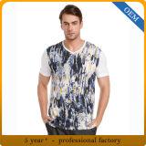 Magliette del collo di V stampate cotone degli uomini su ordinazione