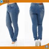 Soem-Form-blaue Frauen-dünne Denim-Jeans plus Größen-Jeans