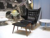 Hans J Wegner Papa Bear Chair in Black Leather