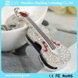 Movimentação da pena do USB da jóia do Rhinestone da forma do violino do Keyring (ZYF1904)