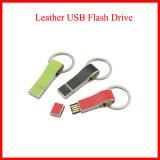 USB de cuero del palillo USB3.0 del USB de Keychain del metal