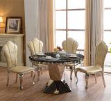Runde Form-Schwarz-Marmorspeisetisch mit Stühlen