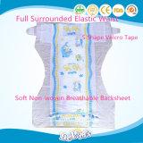 탄력 있는 허리 마술 테이프 부드럽게 Breathable 처분할 수 있는 아기 기저귀