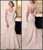 Vestido de casamento formal nupcial S201745 de Vestidos da sereia do laço dos vestidos do forro nu