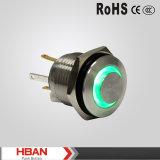 Redondo interruptor de pulsador iluminado alto anillo del metal del LED, pulsador momentáneo del acero inoxidable