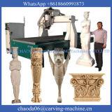 Máquina de cinzeladura de madeira do CNC 3D 4axis com linha central giratória (JCT1530L)