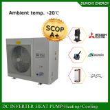 Amb. O medidor frio 12kw/19kw/35kw/70kw do quarto 100~350sq do aquecimento de assoalho do inverno de -25c Auto-Degela o calefator de água da bomba do inversor da C.C. e de calor de Evi