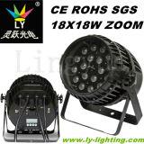 18PCS 12W RGBW 4in1 LED PAR para Disco Estágio ao Ar Livre com Zoom
