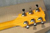 Musique de Hanhai/guitare électrique Semi-Creuse de jaune avec le matériel d'or (L5)