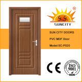 Vidrio de la pieza inserta del precio de la puerta del PVC del cuarto de baño (SC-P020)