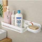 Stanza da bagno Organizer Shelf Rack con Suction Cup per Shampoo