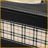 La caja más nueva del tejido del cuero de la manera 2016 con insignia modificada para requisitos particulares
