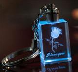 선물을%s LED 가벼운 도매 수정같은 유리 Keychain