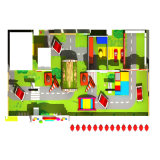 La conception adaptée aux besoins du client par thème de sucrerie badine la cour de jeu d'intérieur