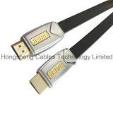 Cable HDMI plana de metal de alta velocidad para Blu Ray DVD, televisor 3D con Ethernet