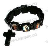 8mm Houten Katholieke Armband voor Pray met Kruis