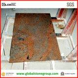 Dessus rouges multicolores normaux de cuisine de granit contre- dans résidentiel