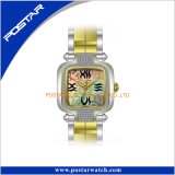 Promotlly acero inoxidable diamante relojes con perla genuina