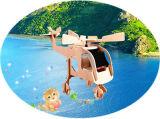 Plano do jogo solar inteletual verde do brinquedo do produto DIY da energia/helicóptero de madeira 063