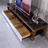 Stand royal de luxe du granit TV avec le bâti d'or