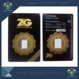 Moneda de oro tarjeta de impresión de envases