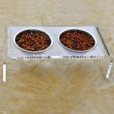 Tabella pranzante dell'alimentazione acrilica dell'animale domestico di alta qualità con la ciotola due