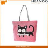 대부분의 대중적인 고양이 귀여운 빨간 큰 수를 놓은 직물 끈달린 가방