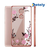 Caso transparente del compañero 8 de Huawei TPU del laminado de la mariposa del brillo suave de Bling