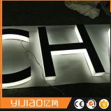 継ぎ目が無いステンレス鋼の文字の屋外のハローの背部Litのロゴ